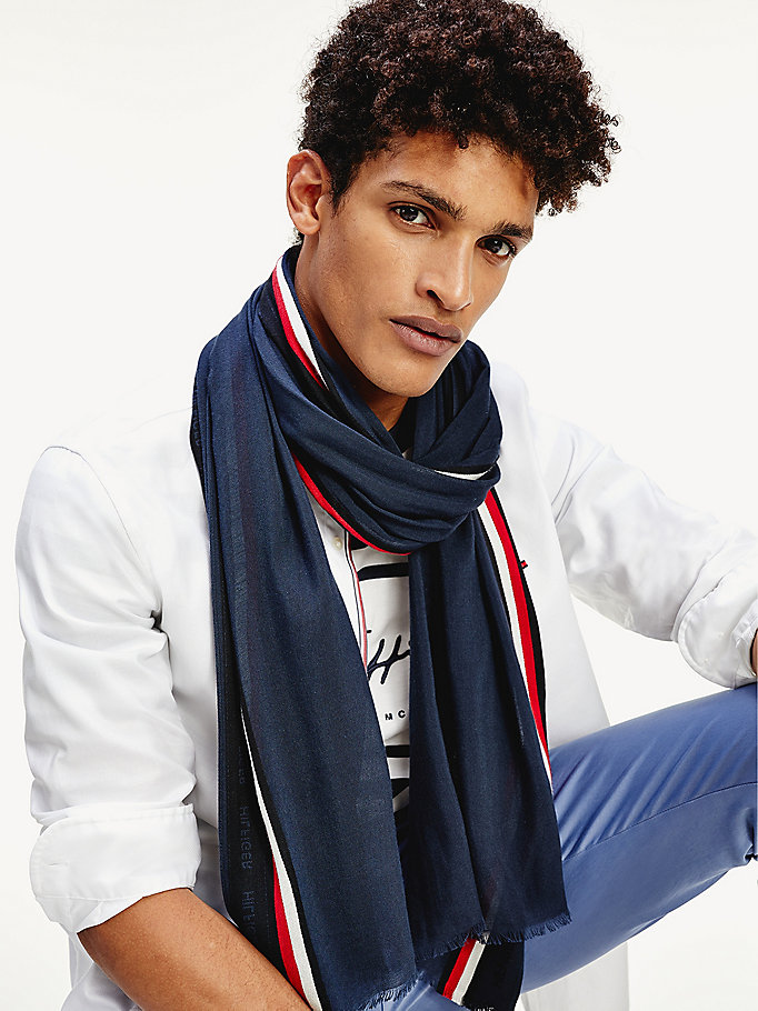 multi signature tape raw hem scarf for men tommy hilfiger