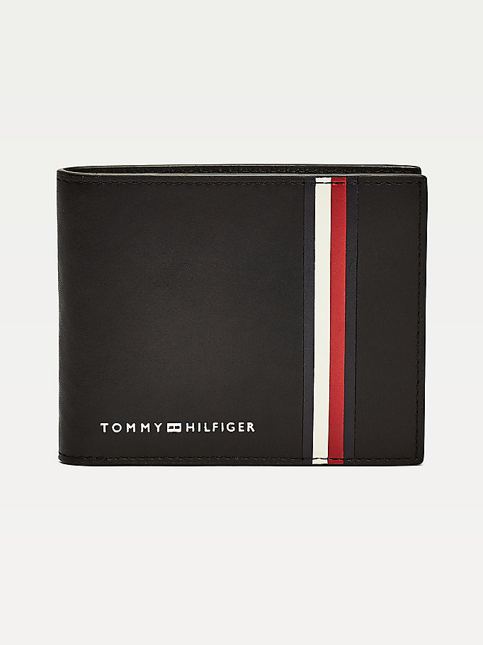 black signature tape small leather wallet for men tommy hilfiger