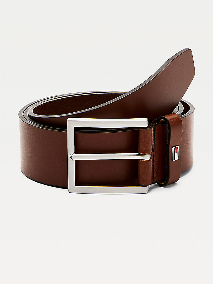brown square buckle leather belt for men tommy hilfiger