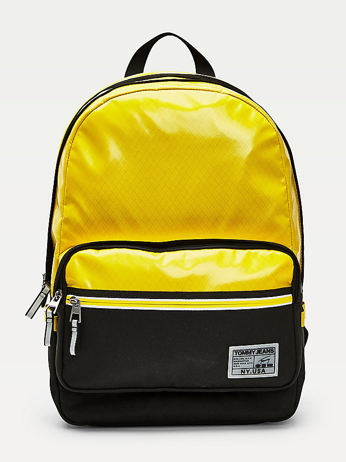yellow surplus logo high shine backpack for men tommy jeans
