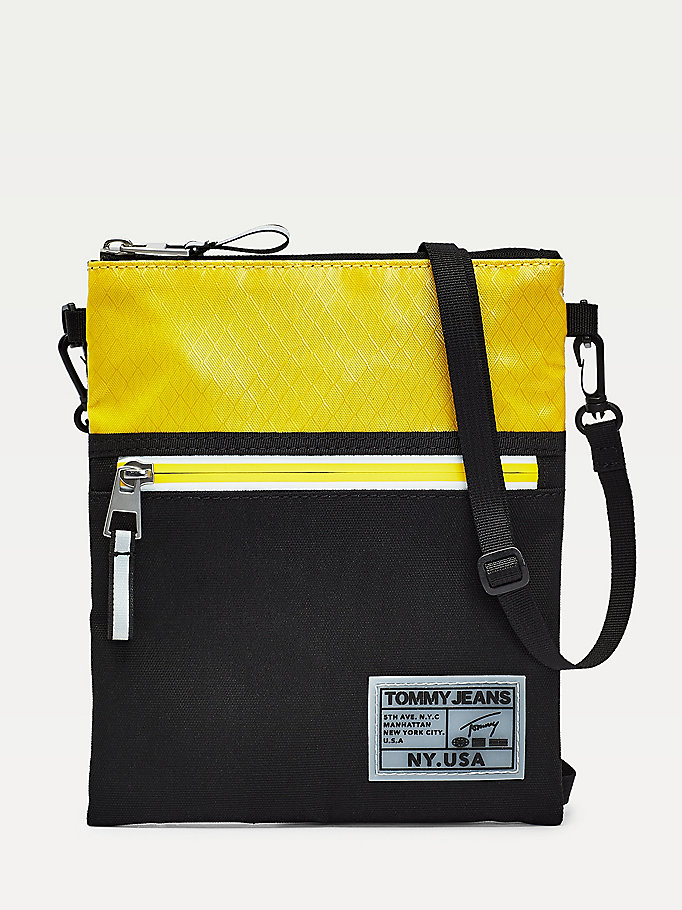 yellow surplus logo colour-block pouch bag for men tommy jeans