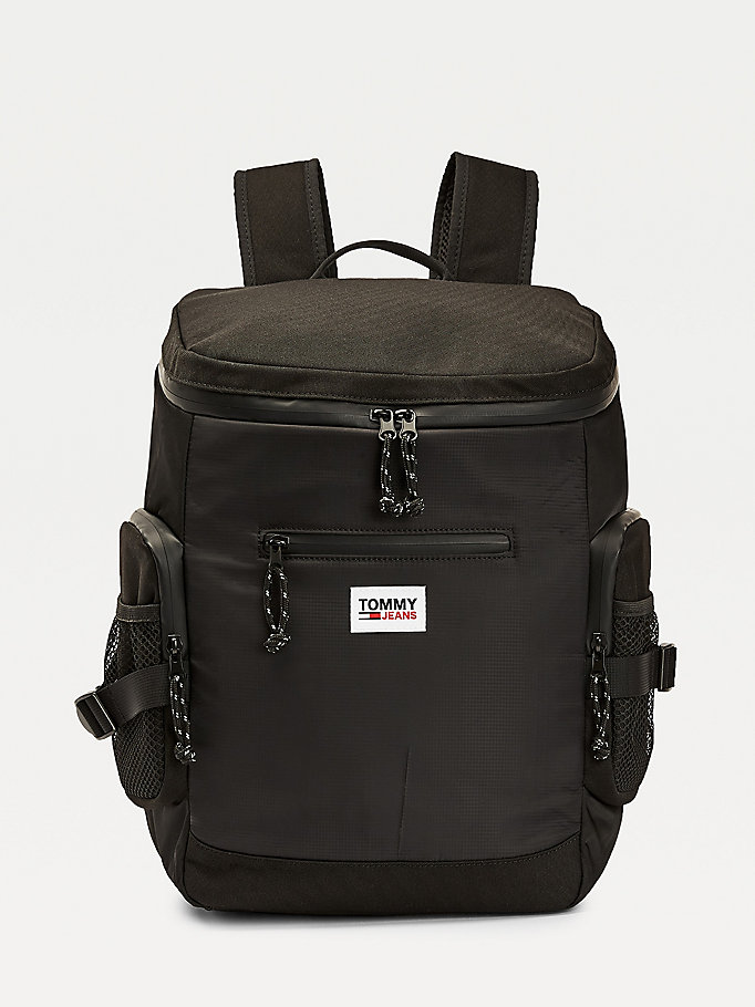 black tommy jeans urban tech backpack for men tommy jeans