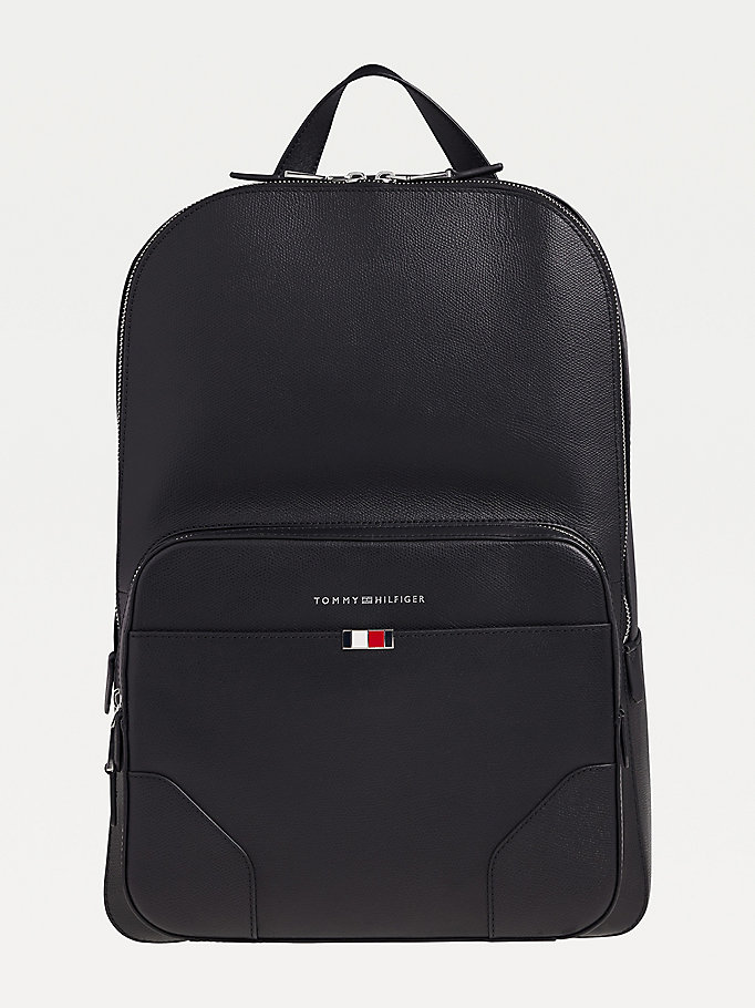 black th business leather backpack for men tommy hilfiger