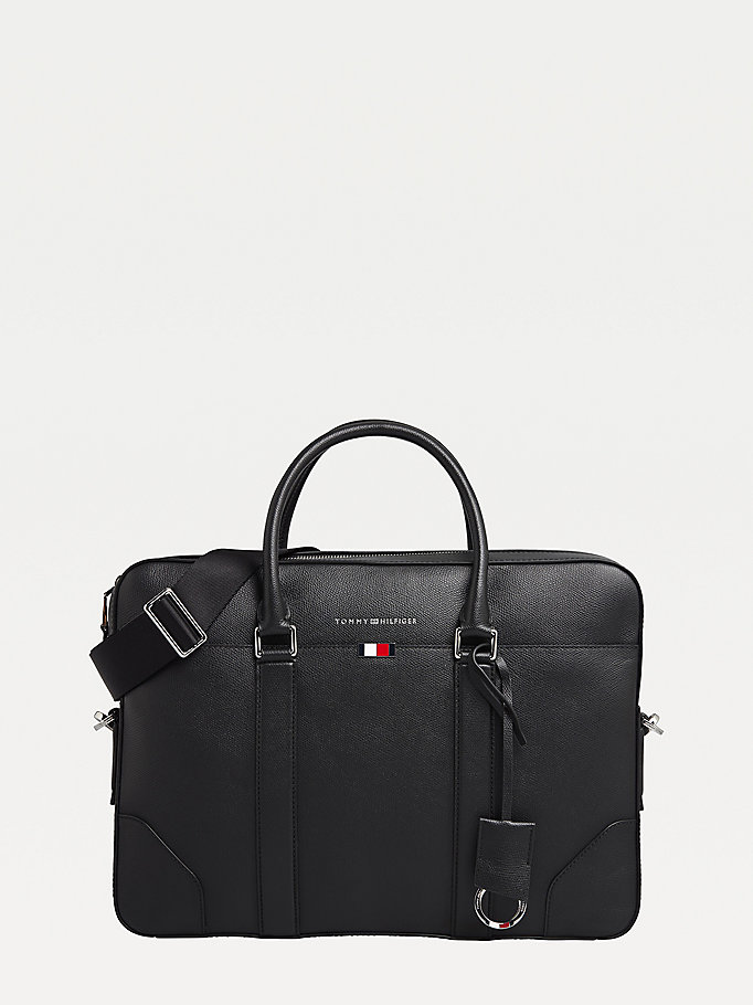 black th business slim leather computer bag for men tommy hilfiger