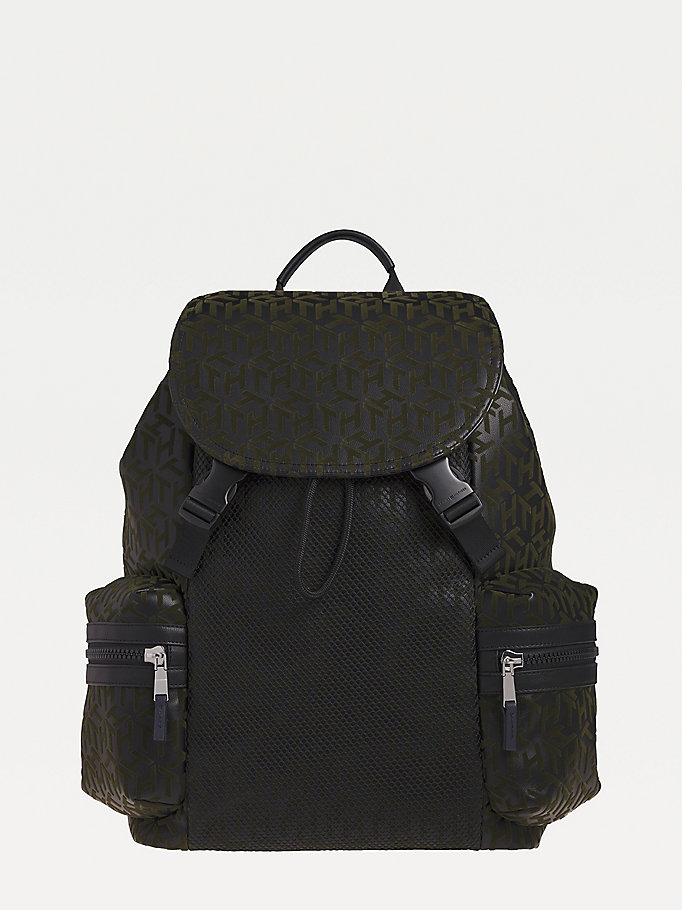 black embossed th monogram backpack for men tommy hilfiger