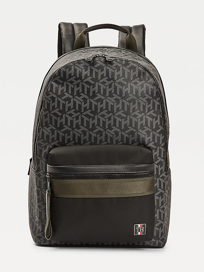 black coated canvas monogram print backpack for men tommy hilfiger