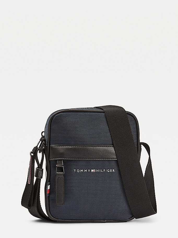 blue small recycled polyester reporter bag for men tommy hilfiger