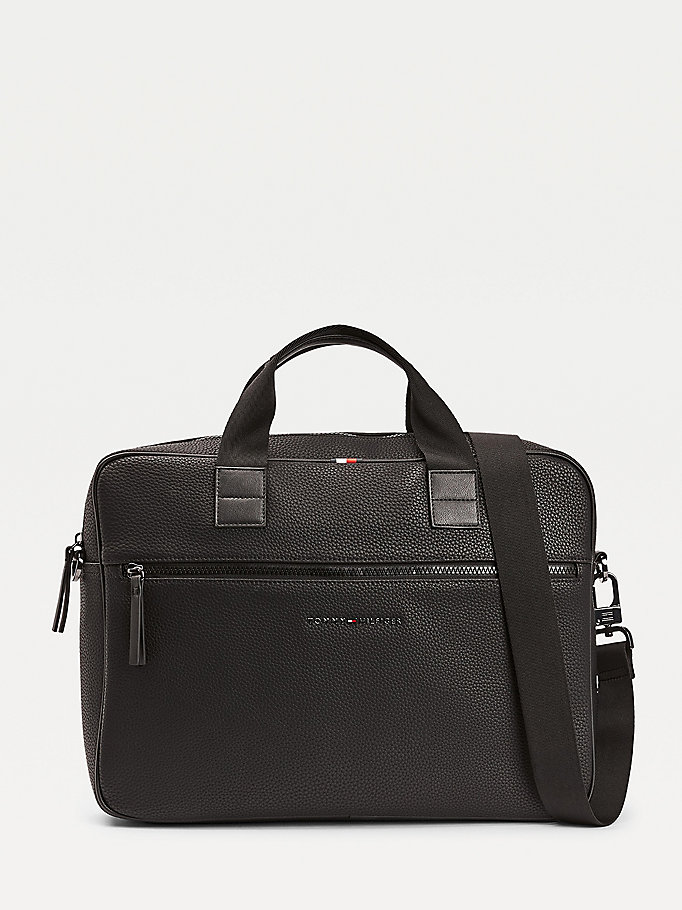 black essential textured finish computer bag for men tommy hilfiger