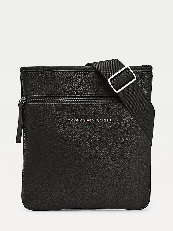 black essential textured finish crossover bag for men tommy hilfiger