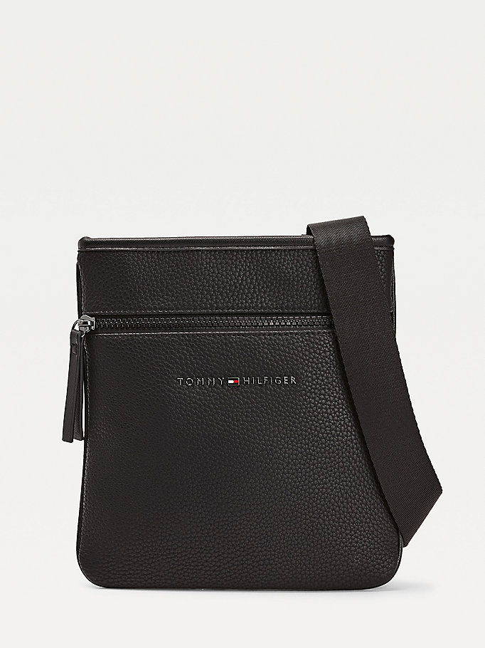 black essential small crossover bag for men tommy hilfiger