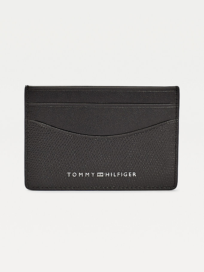 black th business small card holder for men tommy hilfiger