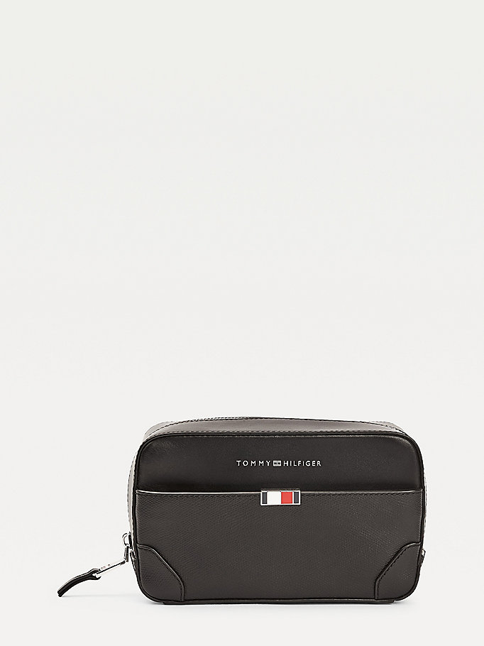 black th business leather washbag for men tommy hilfiger