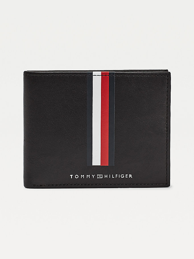 black metro signature leather card wallet for men tommy hilfiger