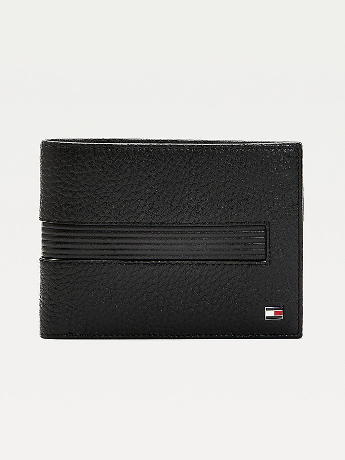black downtown leather card and coin wallet for men tommy hilfiger
