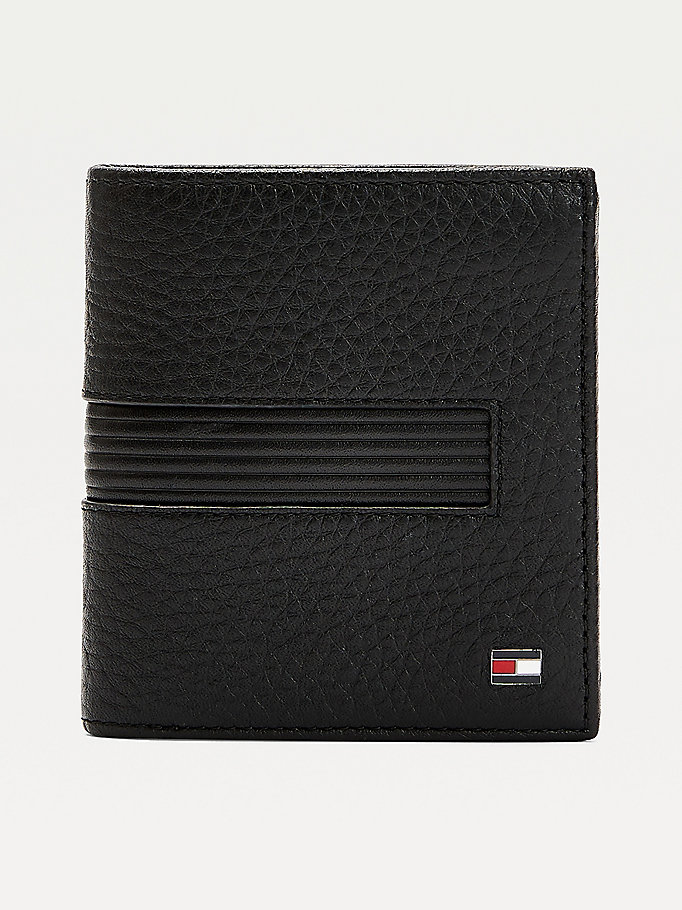 black downtown textured leather tri-fold wallet for men tommy hilfiger
