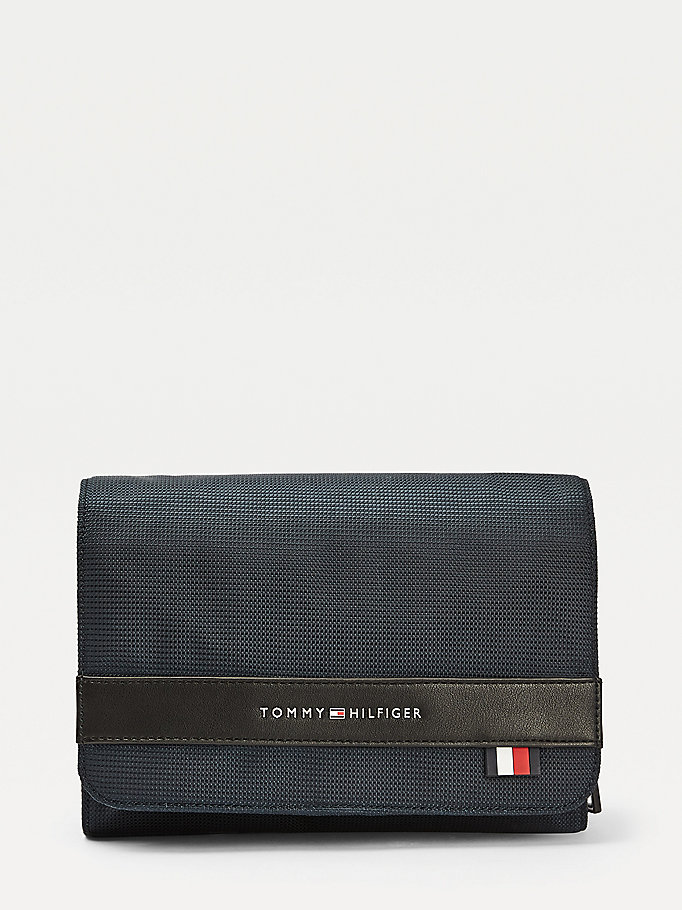 blue flap closure recycled polyester washbag for men tommy hilfiger