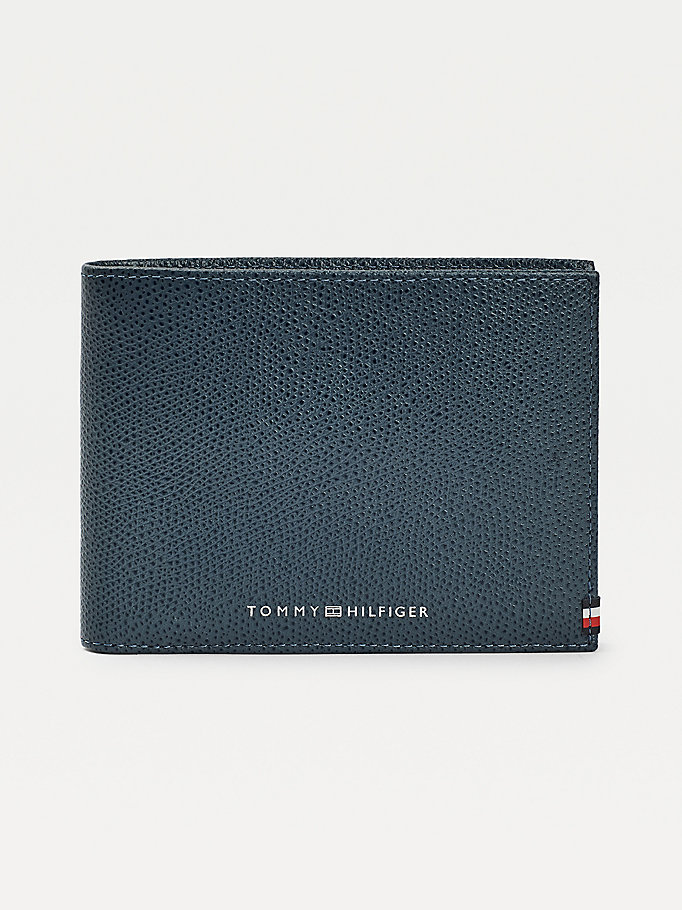 blue th business leather wallet for men tommy hilfiger