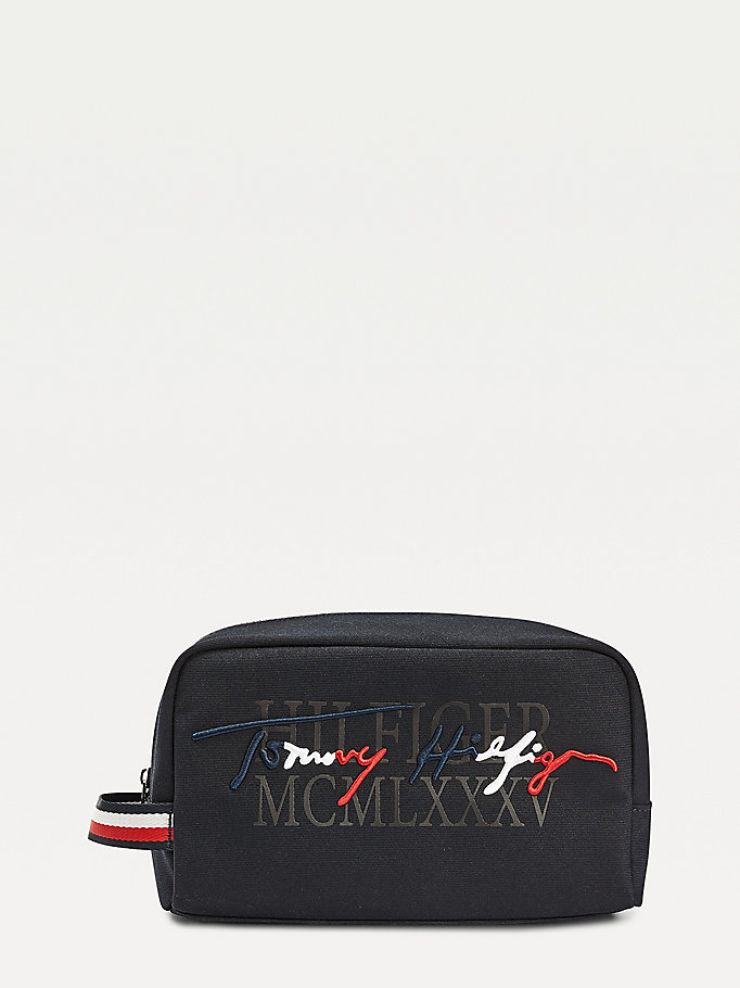 blue signature logo wash bag for men tommy hilfiger