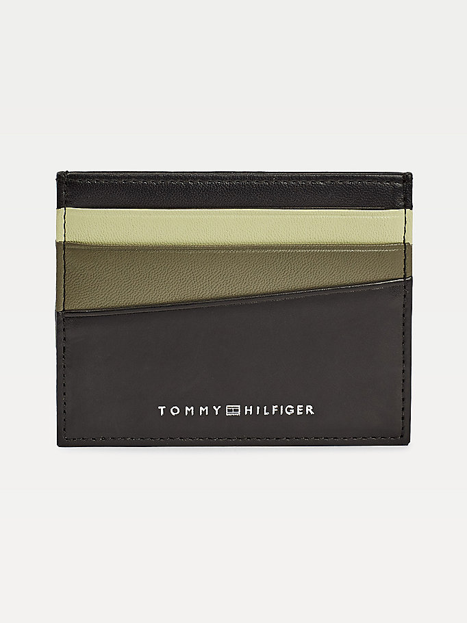 black colour-blocked credit card holder for men tommy hilfiger