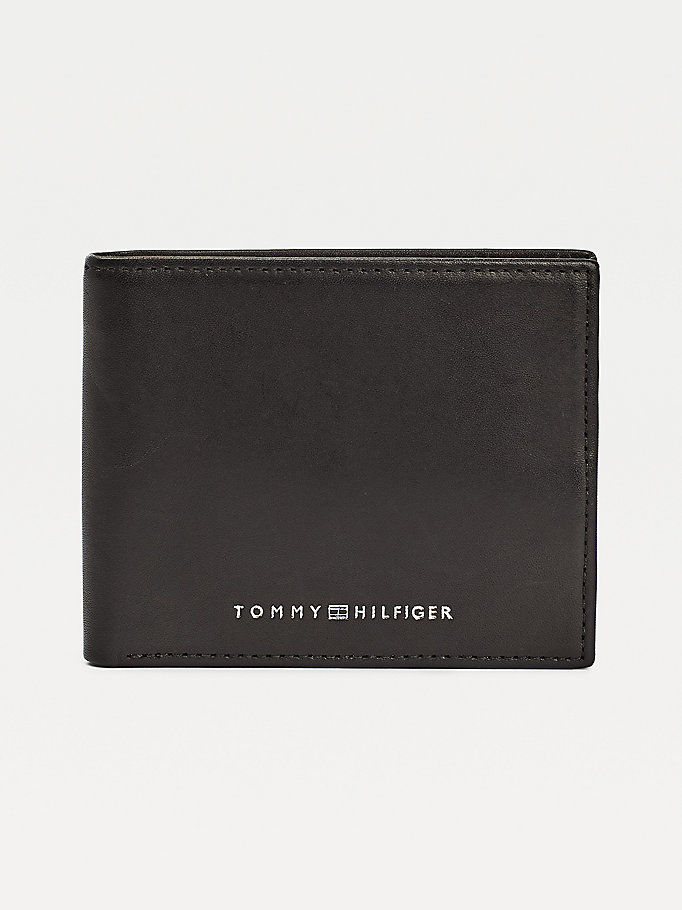 black small colour-blocked bifold wallet for men tommy hilfiger