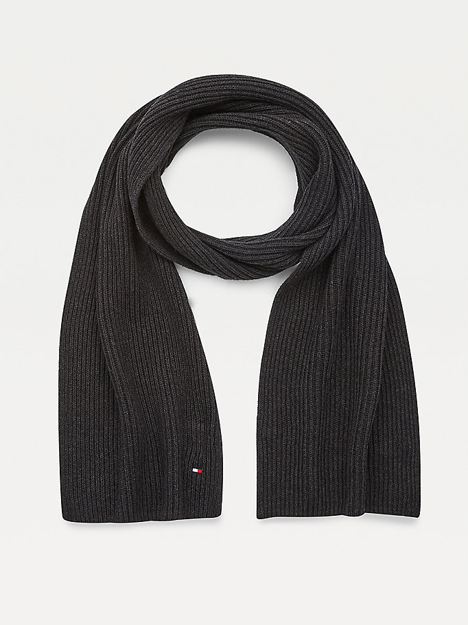 grey pima cotton embroidery rib-knit scarf for men tommy hilfiger