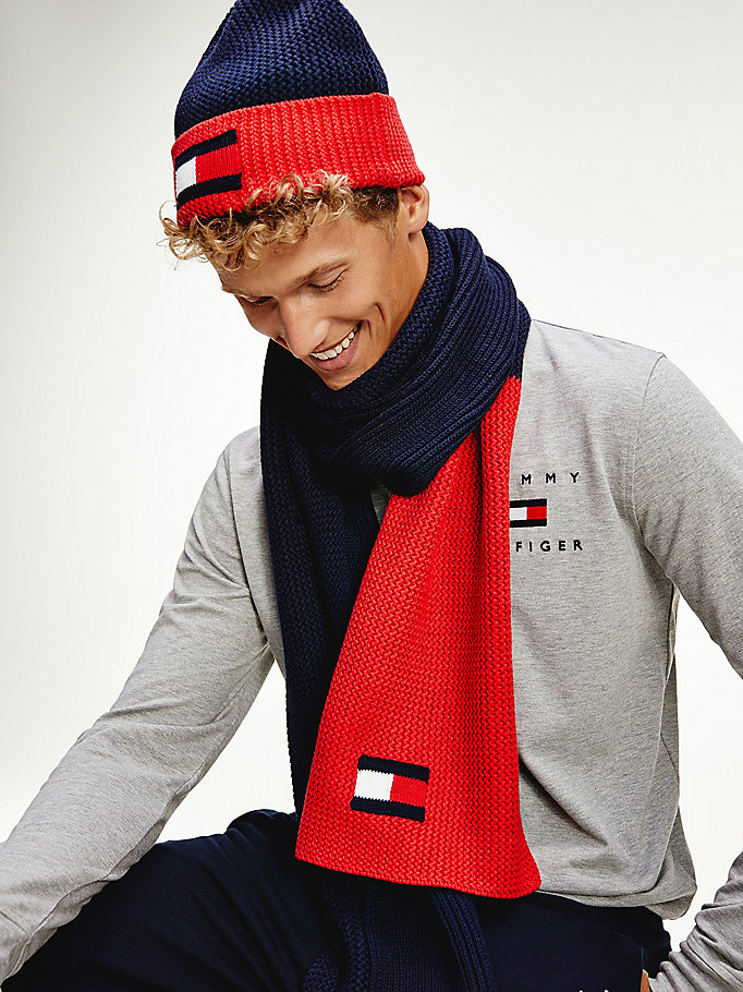 blue flag detail cotton scarf for men tommy hilfiger