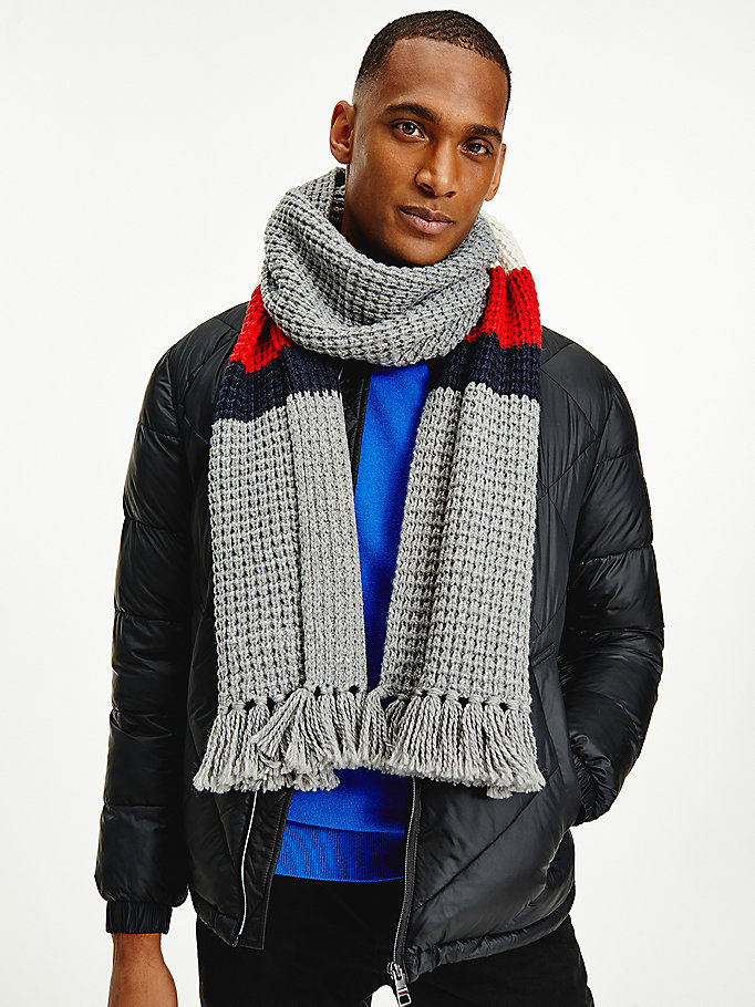 grey signature tape detail scarf for men tommy hilfiger
