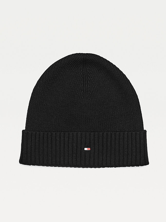 black pima cotton blend flag embroidery beanie for men tommy hilfiger