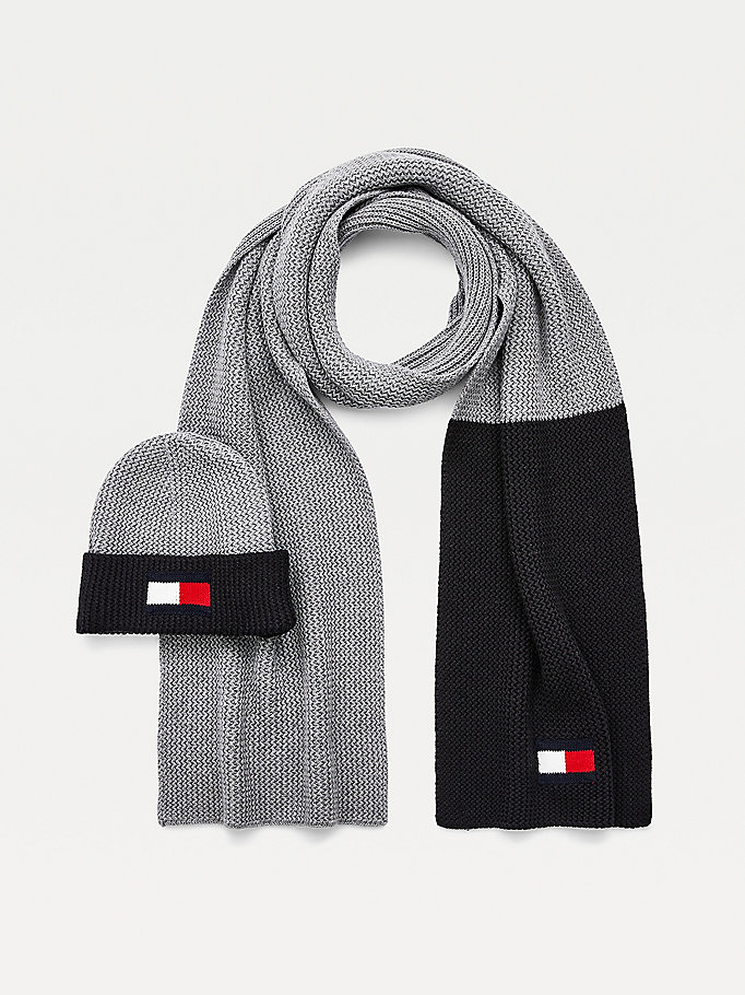 grey flag detail scarf and beanie set for men tommy hilfiger
