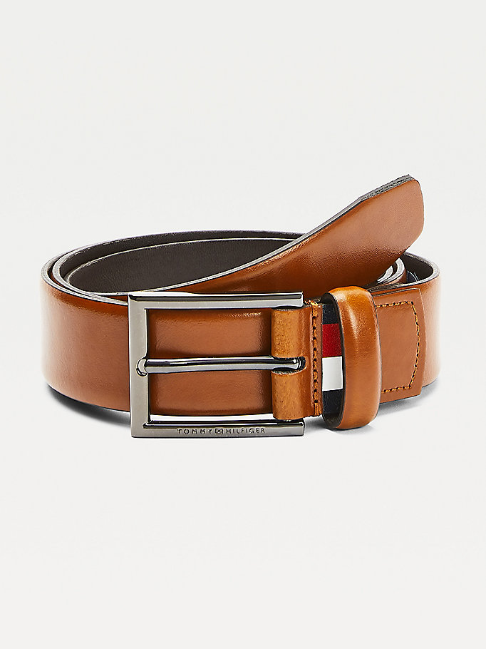 brown textured leather belt for men tommy hilfiger