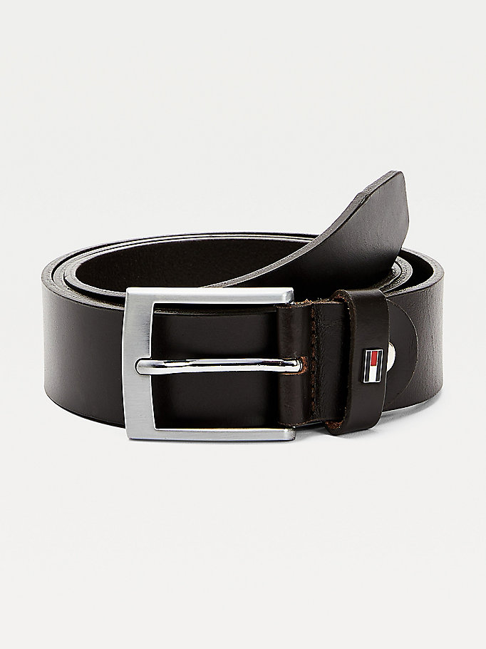 brown adjustable smooth finish leather belt for men tommy hilfiger