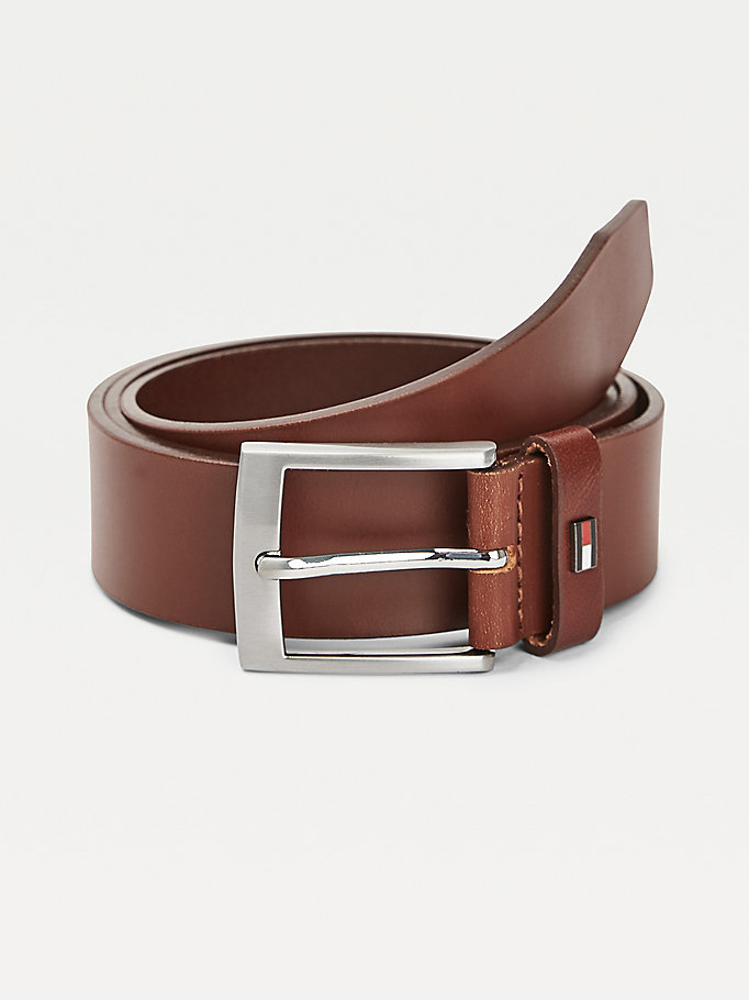 brown leather flag detail belt gift box for men tommy hilfiger