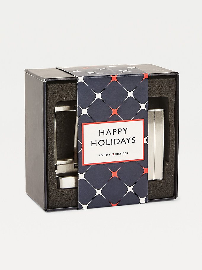black double buckle leather belt gift box for men tommy hilfiger