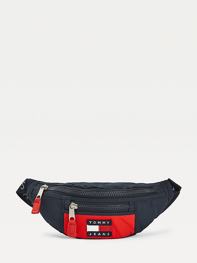 blue heritage colour-blocked bumbag for men tommy jeans