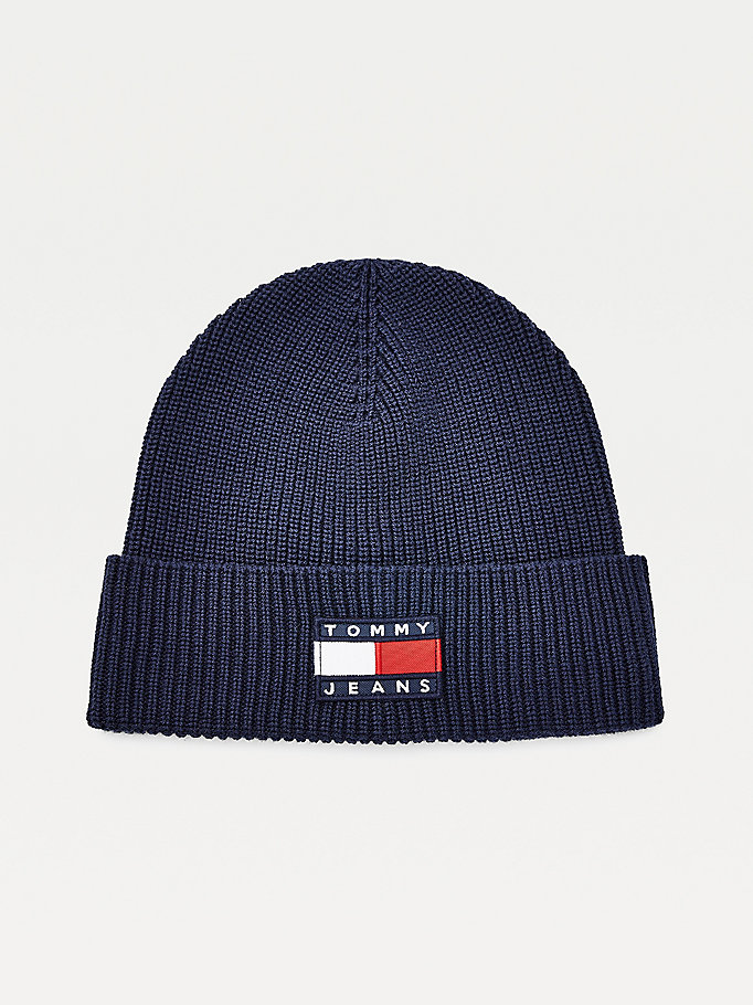 blue organic cotton badge beanie for men tommy jeans
