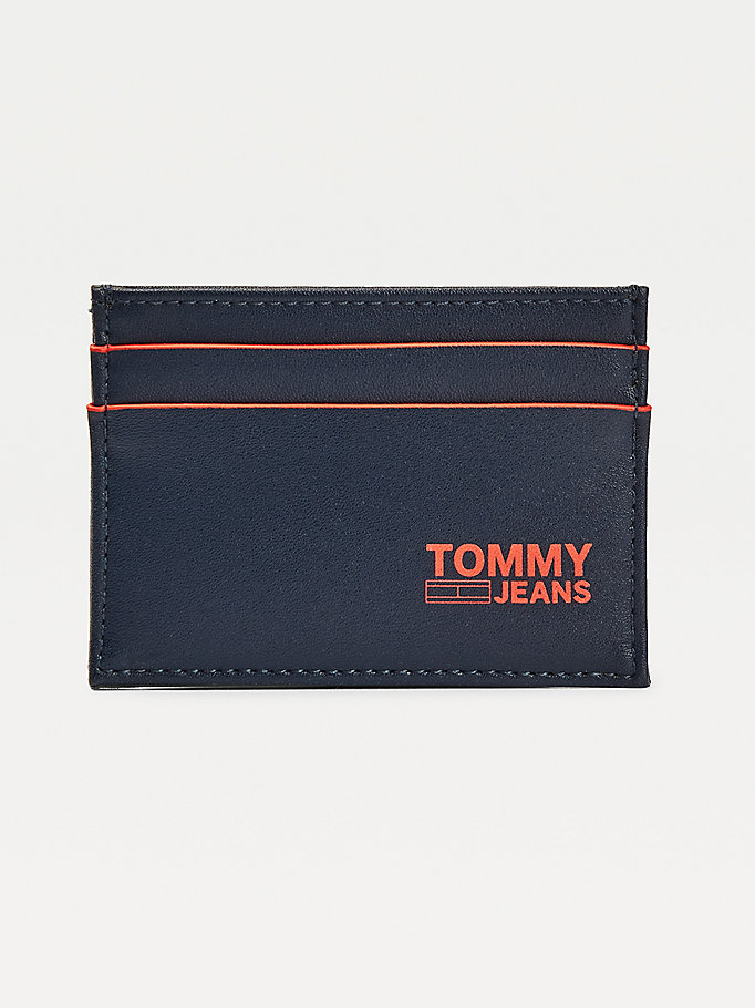 blue recycled leather credit card holder for men tommy jeans