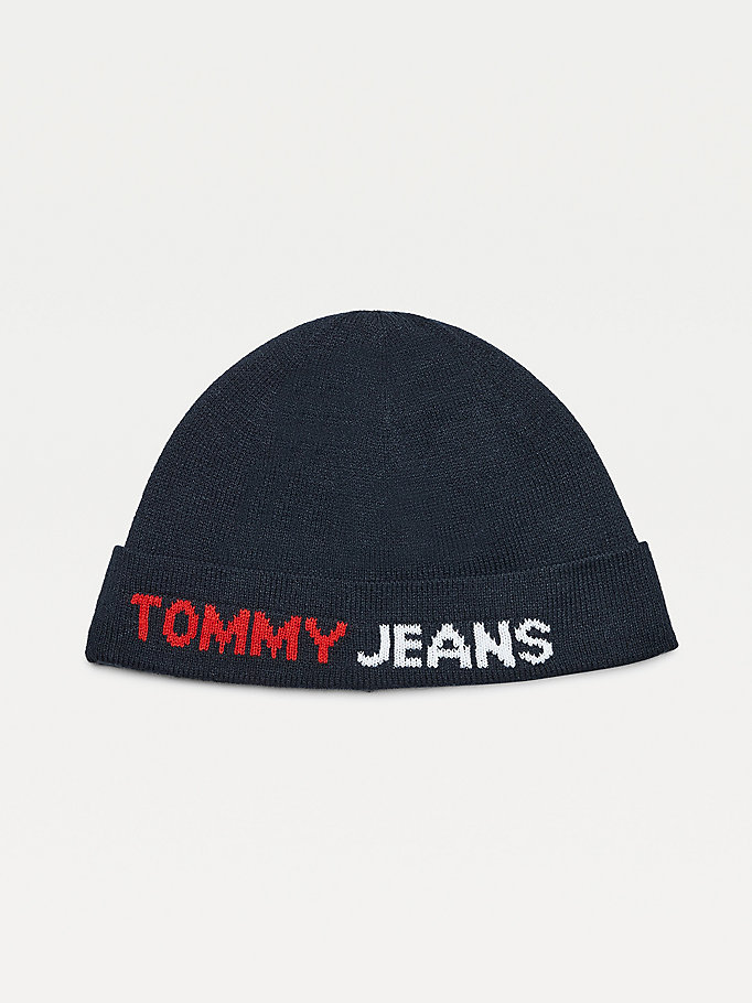 blue fine-knit short beanie for men tommy jeans