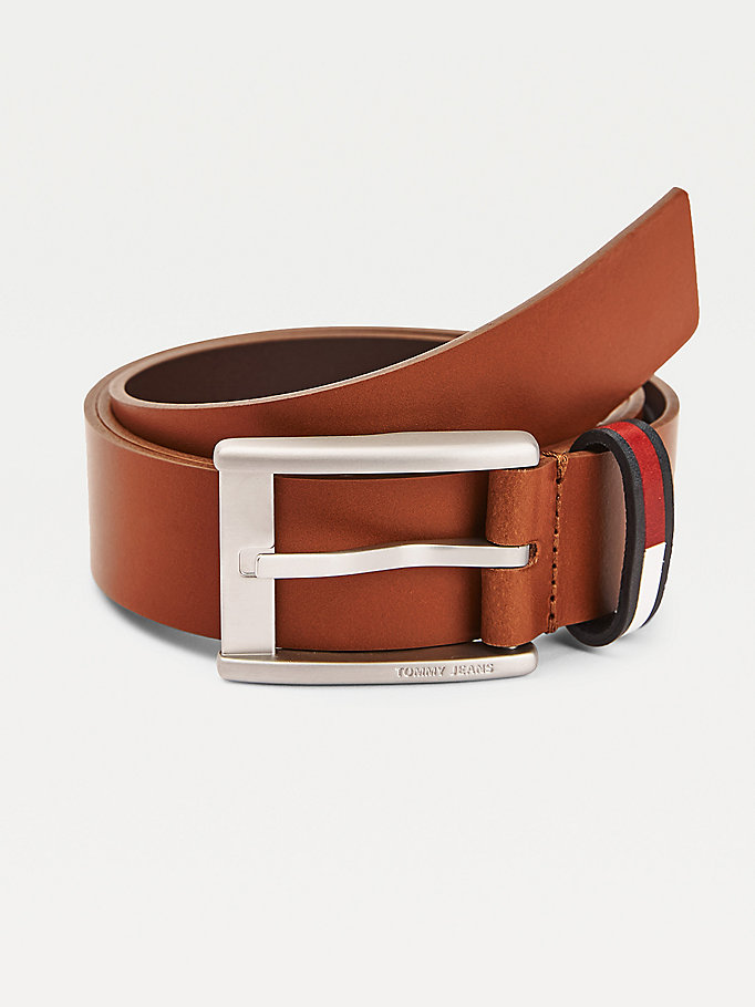 brown signature keeper leather belt for men tommy jeans
