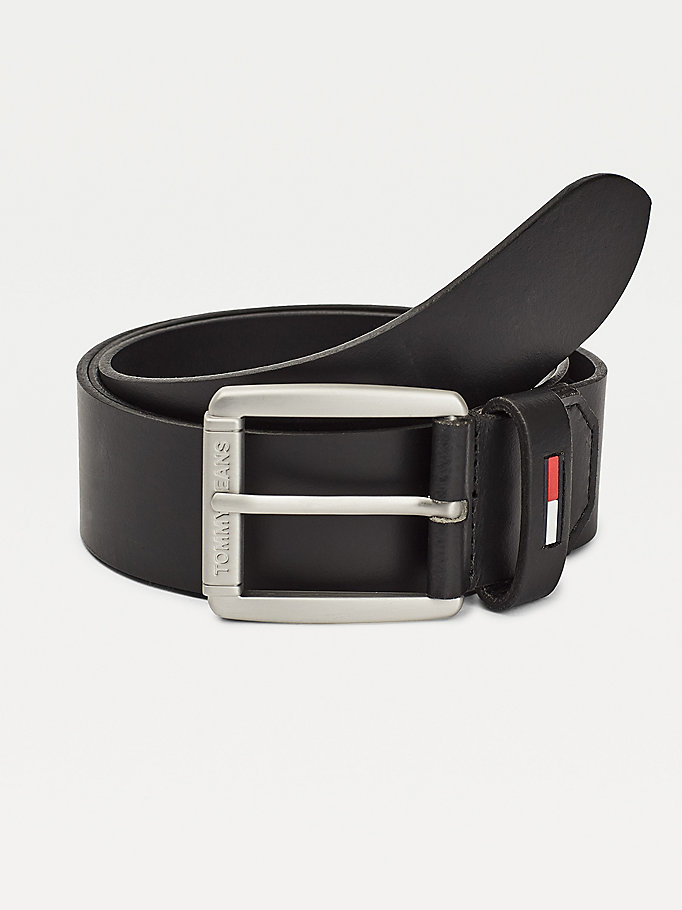 black flag keeper leather belt for men tommy jeans