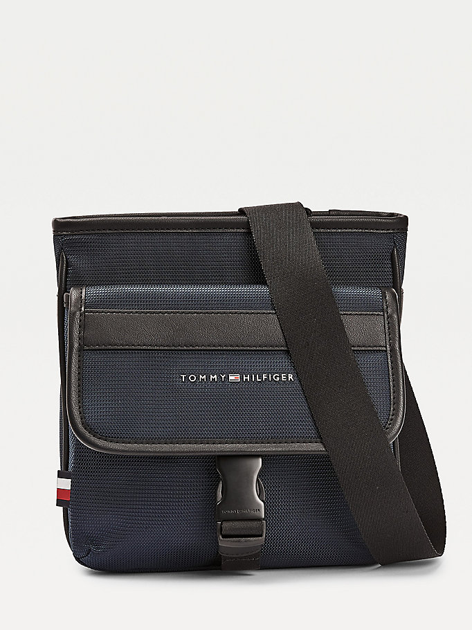 blue recycled polyester crossover bag for men tommy hilfiger