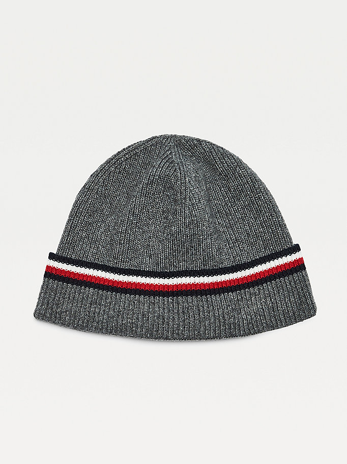grey signature rib-knit beanie for men tommy hilfiger