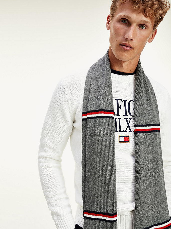 grey horizontal stripe scarf for men tommy hilfiger