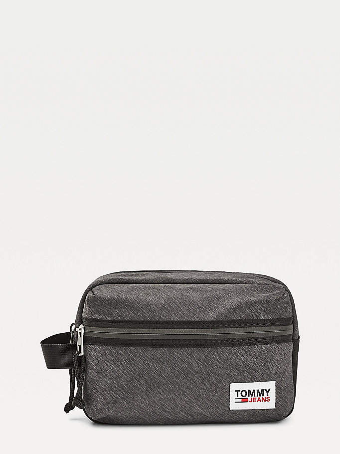 black tommy jeans tech washbag for men tommy jeans