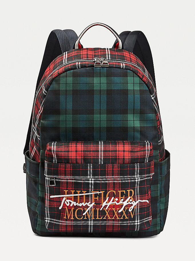 black check signature logo backpack for men tommy hilfiger