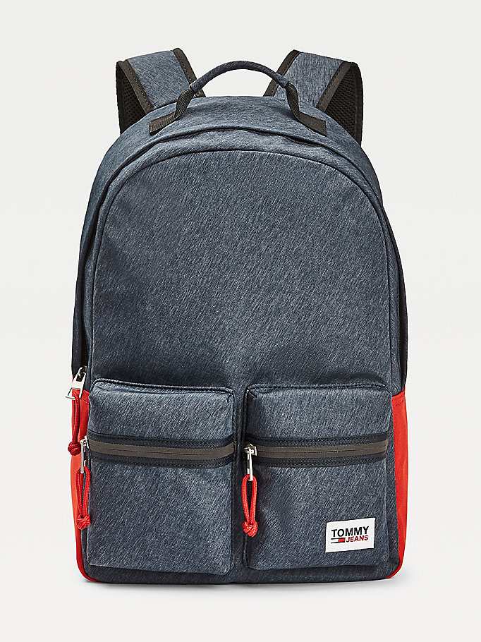 blue tommy jeans tech backpack for men tommy jeans