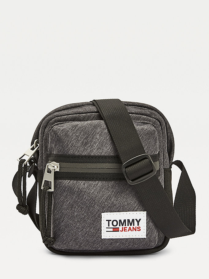black tommy jeans tech reporter bag for men tommy jeans