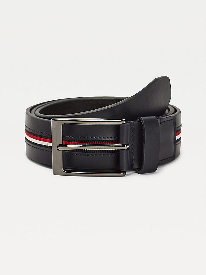 blue signature tape inlay belt for men tommy hilfiger
