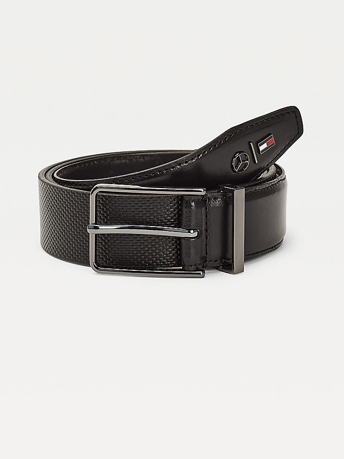 black mercedes-benz logo leather belt for men tommy hilfiger