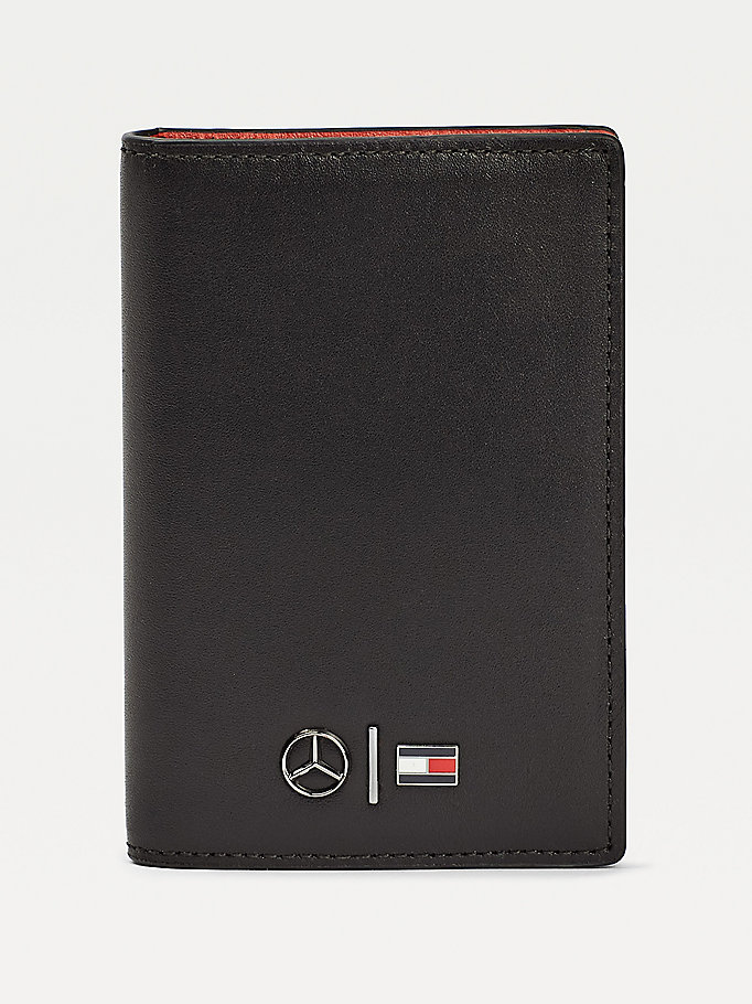 black mercedes-benz leather business card holder for men tommy hilfiger