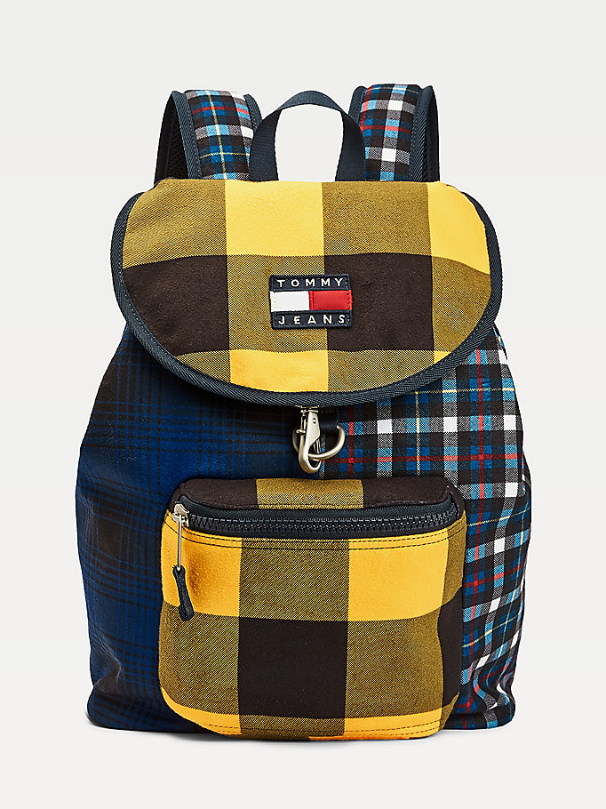 blue mixed check backpack for men tommy jeans